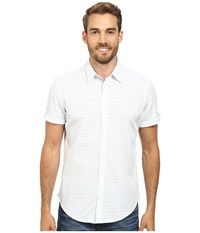 Calvin Klein Variegated Dobby Slub Chambray Woven Shirt White Men's Short Sleeve Button Up