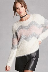 Forever 21 Fuzzy Zigzag Graphic Sweater Pink