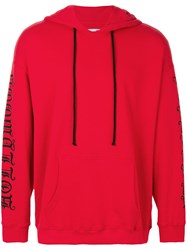 Adaptation Sleeves Print Hoodie Cotton S Red