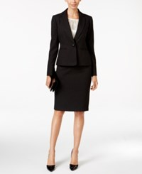 Le Suit 3 Pc. One Button Pinstriped Skirt Black Ivory