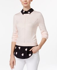 Maison Jules Printed Layered Look Top Only At Macy's Pink Cloud Combo