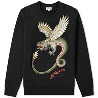 Alexander Mcqueen Large Embroidered Dragon Crew Sweat Black