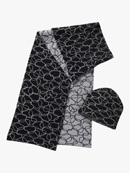 Betty Barclay Scribble Heart Hat And Scarf Set Black Silver