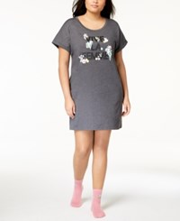 By Jennifer Moore Plus Size Graphic Sleepshirt And Socks Created For Macy's Hampton Grey