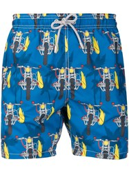 Mc2 Saint Barth Bike Print Swim Shorts Blue