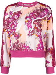 Emilio Pucci Lace Panels Floral Sweatshirt Pink And Purple