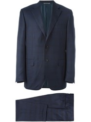 Canali Checked Pattern Suit Blue