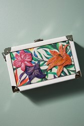 Anthropologie Tropical Hardcase Clutch White