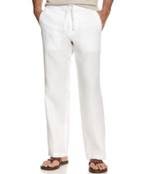 Tasso Elba Big And Tall Pants Linen Drawstring Pants White