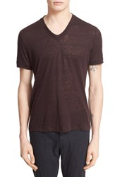 John Varvatos Men's Collection Burnout Linen V Neck T Shirt