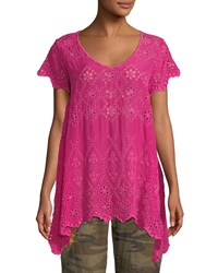 Johnny Was Pippa Eyelet Tunic Petite Orchid Lei