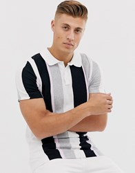 River Island Knitted Polo In Purple Stripe