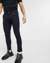 Solid Check Cropped Trousers In Navy
