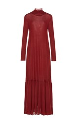 Ryan Roche Cashmere Long Sleeve Dress Red