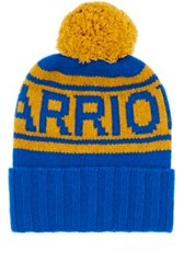 The Elder Statesman X Nba Women's Warriors Cashmere Pom Pom Beanie Blue