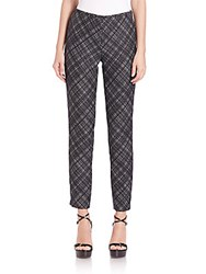Michael Kors Cropped Virgin Wool Crosshatch Pants Black White
