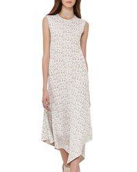Akris Sleeveless Jacquard A Line Dress Blanco Nude White Pattern
