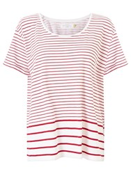 John Lewis Collection Weekend By Stripe Cotton Slub T Shirt White Red