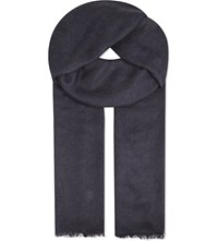 Sandro Cashmere Blend Scarf Navy Blue