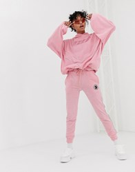 Criminal Damage Joggers In Velour With Reflective Tape Co Pink
