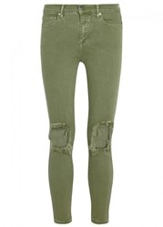 Free People Busted Green Ripped Skinny Jeans