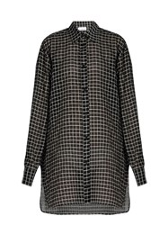 Raey Checked Cotton And Silk Blend Oversized Shirt Black