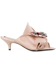 N 21 No21 Embellished Abstract Bow Mules Nude And Neutrals
