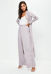 Missguided Premium Grey Side Button Wide Leg Trousers