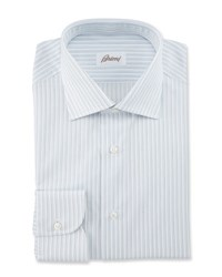 Brioni Striped Dress Shirt White Blue Gray