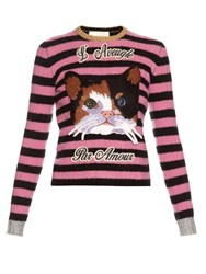 Gucci Cat Embroidered Cashmere And Wool Blend Sweater Black Multi