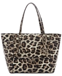 Guess Delaney Small Classic Tote Brown Leopard
