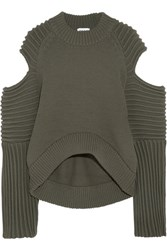 Dkny Cold Shoulder Ribbed Knit Sweater Army Green