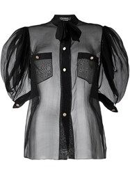 Chanel Vintage Puff Sleeve Sheer Blouse Black
