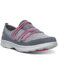 Skechers Women's Go Step Sway Walking Sneakers From Finish Line Grey Hot Pink
