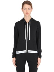 Calvin Klein Underwear Logo Trim Zip Up Cotton Sweatshirt