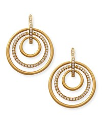 Carelle 18K Moderne 3 Ring Pave Diamond Earrings 1 1 8