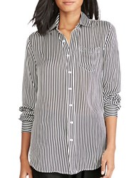 Polo Ralph Lauren Button Front Striped Blouse White