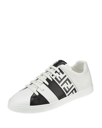 Fendi Mania Ff Leather Low Top Sneakers Black White