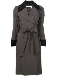 See By Chloe Contrast Trim Trench Coat Grey