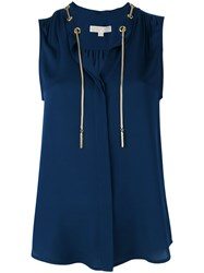 Michael Michael Kors Chain Tied Neckline Blouse Women Silk L Blue