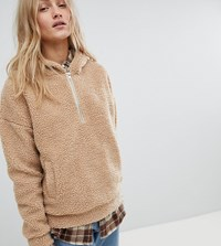 Daisy Street Oversized Hoodie In Teddy Fleece Beige