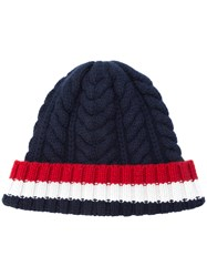 Thom Browne Cable Knit Stripe Panel Beanie Women Cashmere One Size Blue