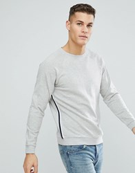 Only And Sons Sweatshirt With Retro Sport Stripe Light Grey