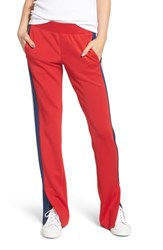 Pam And Gela Stripe Scuba Knit Track Pants Candy Red
