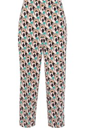 Prada Cropped Printed Silk Crepe De Chine Straight Leg Pants Mushroom