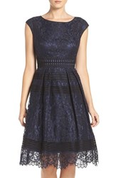 Eliza J Women's Lace Fit And Flare Dress Navy