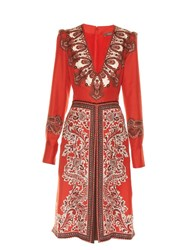 Alexander Mcqueen V Neck Paisley Print Dress Red Multi