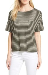 Eileen Fisher Women's Stripe Groove Bateau Neck Sweater Olive