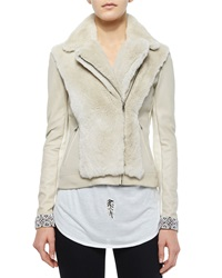 Haute Hippie Long Sleeve Fur Jacket W Embellished Cuffs Buff