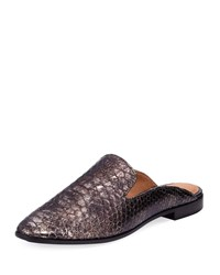 Frye Terri Metallic Embossed Mule Pewter